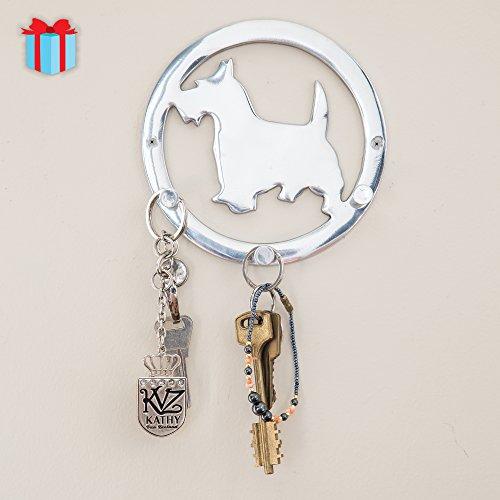 Decorative Wall Mounted Key Holder - Triple Key Hooks Rack - Dog Leash Hook - Polished Finish - with Screws and Anchors - By Comfify (Dog AL-1507-05)