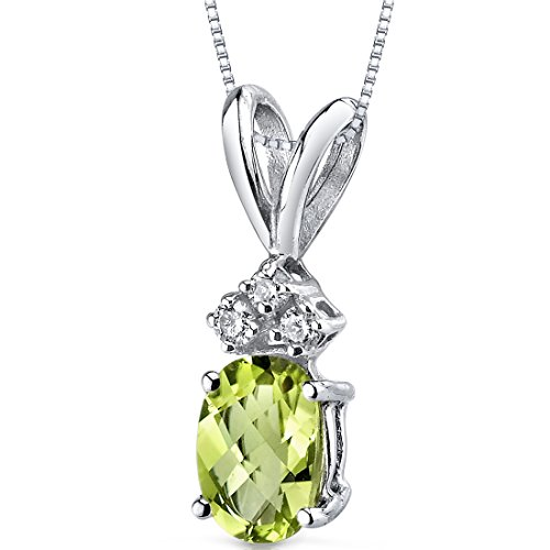 - 14 Karat White Gold Oval Shape 1.00 Carats Peridot Diamond Pendant
