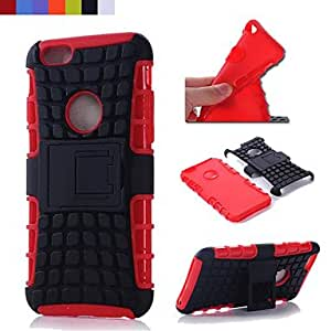 ZXSPACE Functional Back Cover Case with Stand for iPhone 6 4.7 inch (Assorted Color) , Red