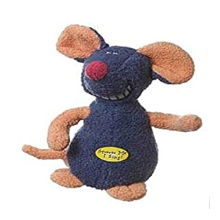 Multipet Deedle Dude 8-Inch Singing Mouse Plush Dog Toy, Blue