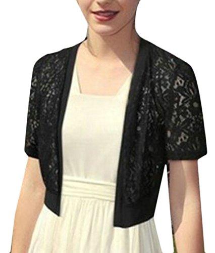 chenshiba-JP 女性のファッション半袖薄手のレースボレロカーディガン