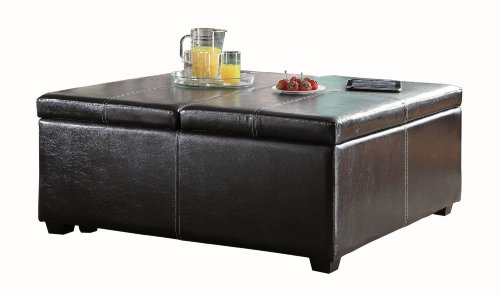 Homelegance 4727PU Homelegance Synergy Lift Top Storage Cocktail Ottoman, Bi-Cast Vinyl, Dark Brown