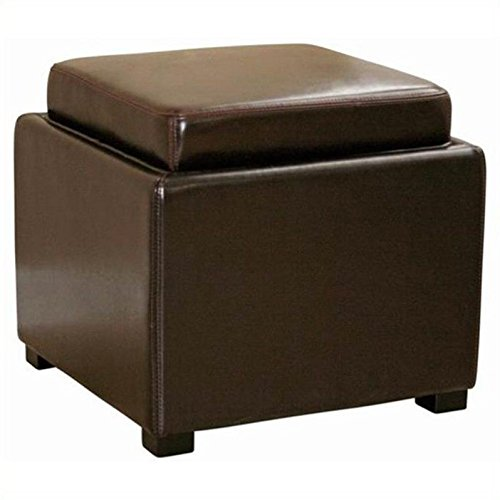 Wholesale Interiors Leather Ottoman - Wholesale Interiors Baxton Studio Dark Brown Leather Ottoman with Reversible Tray-Top