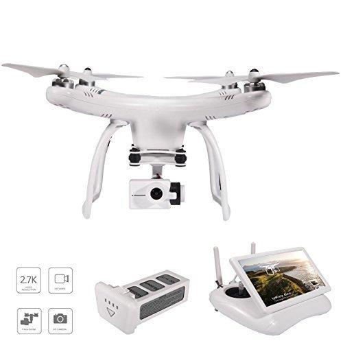 upair One 2.7K HD cámara Drone, monitor FPV 5.8G Transmisión de vídeo en directo, 2.4G Mando a distancia, GPS Drone, visualización de 7inch de retorno automático Quadcopter Drone