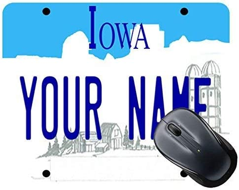 Personalized Custom Name Iowa State License Plate Square Mouse Pad 11.8-inch by 9.85-inch TM