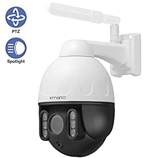 [Floodlight PTZ CAM] XMARTO 1080p WiFi PTZ Security Camera Wireless for Home Security, Pan Tilt Zoom, 2-Way Audio, Motion Detection Alert & Siren, IP66, Control from Phone(Add-on to NVR or standalone)