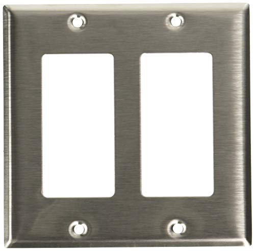 Leviton 84409-40 2-Gang Decora/GFCI Device Decora Wallplate, Device Mount, Stainless Steel, 10-Pack
