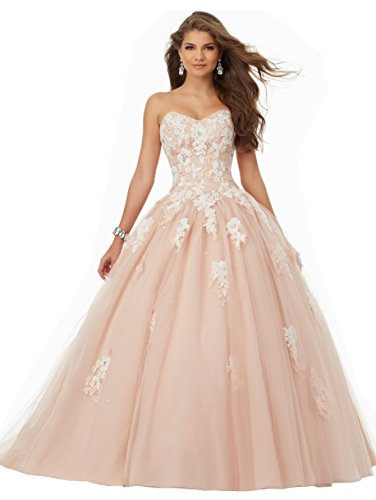 YORFORMALS Women's Strapless Evening Ball Gown Sweetheart Prom Dresses Long Size 12 Blush