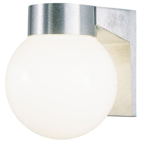 Westinghouse 6797800 One-Light Exterior Wall Lantern, Brushed Aluminum Finish on Cast Aluminum with White Threaded Glass (Brushed Aluminum Outdoor Wall Light)