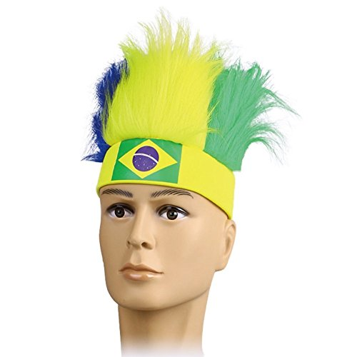 2018 World Cup Football Fans Hats Headband With Colorful Fur Wig Ployester Stretchy National Flag Headwear Cap (1-Pack, (Brazil National Costume Men)