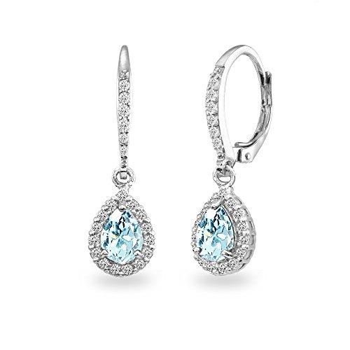 (Sterling Silver Blue Topaz Teardrop Dangle Halo Leverback Earrings with White Topaz)