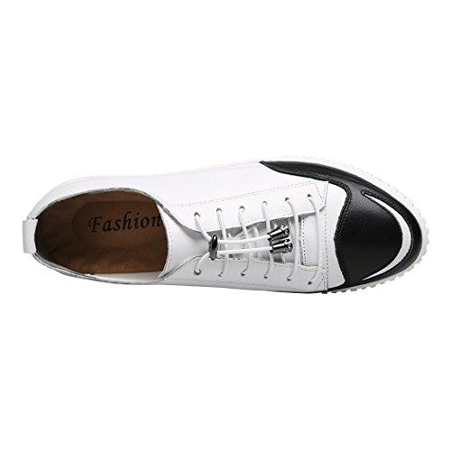 Sole Lorence Moda Uomo Elastico Lacci Senza Stringhe Morbida Pelle Traspirante Sneaker Casual Scarpe Britanniche Bianco