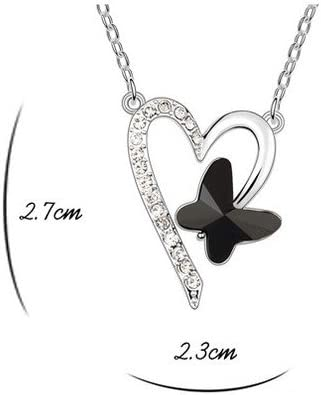 Ouxi 5A Austrian Crystal Necklace Sautoir Pendant Heart Butterfly Colour Black