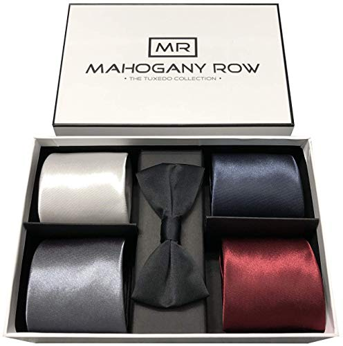 Necktie Collections in Gift Box, 4 Luxury Italian Neckties, 1 Modern Bow Tie, Designer Gift Box, The Must Have Gift Set (Tux Collection) ()