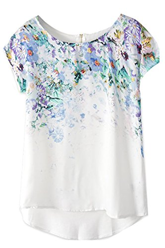 Zeagoo Fashion High Low Vintage Floral Print Short Sleeve Casual Top Blouse 41FRvO SCzL