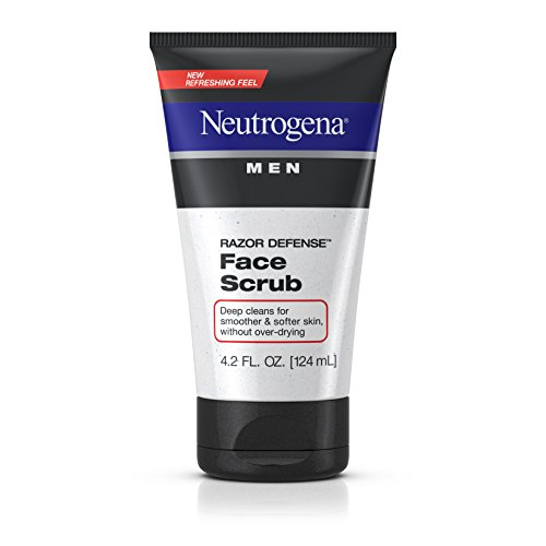 Neutrogena Men Exfoliating Razor Defense Daily Shave Face Scrub, Conditioning Facial Cleanser for Smoother Skin & Less Razor Irritation, Dye-Free, 4.2 fl. oz (Pack of 3) ()