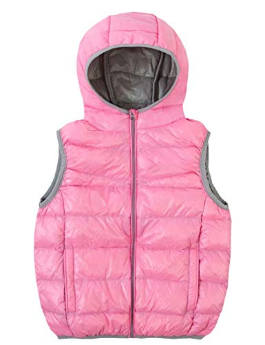 (Spring&Gege Kids Lightweight Quilted Packable Hooded Puffer Down Vest for Boys and Girls Pink/Gray Size 5-6 Years)