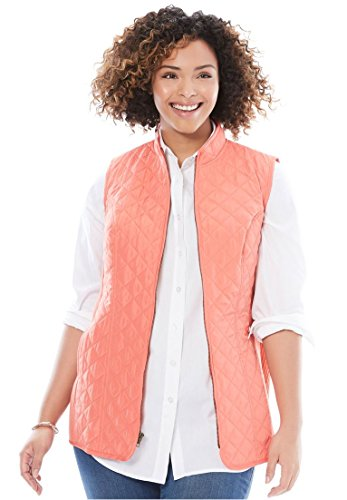 Woman Within Women's Plus Size Diamond-Quilted Zip Front Vest, Dusty Coral, 2X (Quilted Vest Diamond)