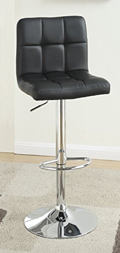 Major-Q Contemporary Black Leatherette Chrome Finish Swivel 37
