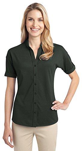 s Stretch Pique Button-Front Shirt, Grey Smoke, XXX-Large ()
