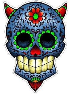 Day of the Dead Decal Rockabilly Rock Vintage Sugar Skull Sticker #30