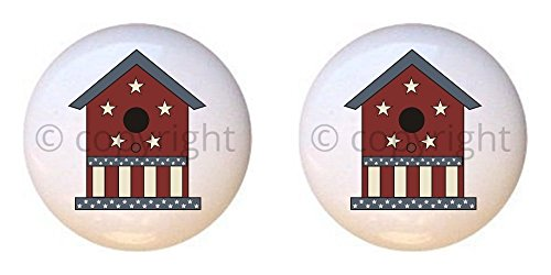 SET OF 2 KNOBS - Stars and Stripes Birdhouse - Americana by CCL - DECORATIVE Glossy CERAMIC Cupboard Cabinet PULLS Dresser Drawer KNOBS ()