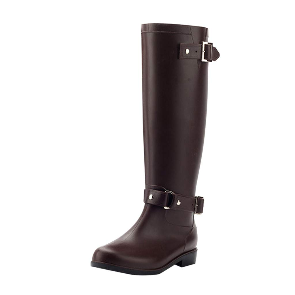 Women Shoes HOSOME Women's Low-Heeled Buckle Round Toe Shoes Waterproof High Tube Rain Boots Brown