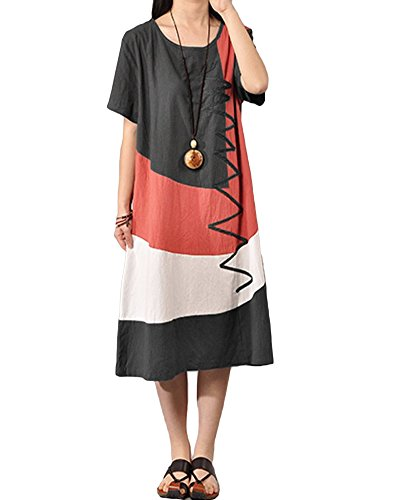 Romacci Women Baggy House Dress Plus Size Pockets O Neck Short Sleeves Casual Loose Dress Cotton Vintage Dress S-5XL (4XL, Dark Grey) from Romacci