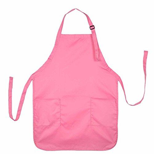 DALIX Apron Commercial Restaurant Home Bib Spun Poly Cotton Kitchen Aprons (2 Pockets) in Pink