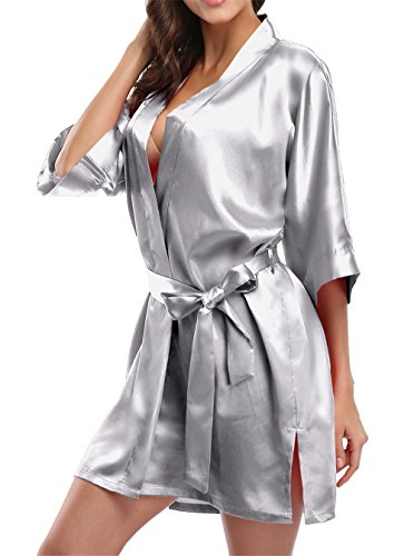 Giova Pure Color Satin Short Silky Bathrobe Sleepwear Nightgown Pajama (3XL, Silver) -