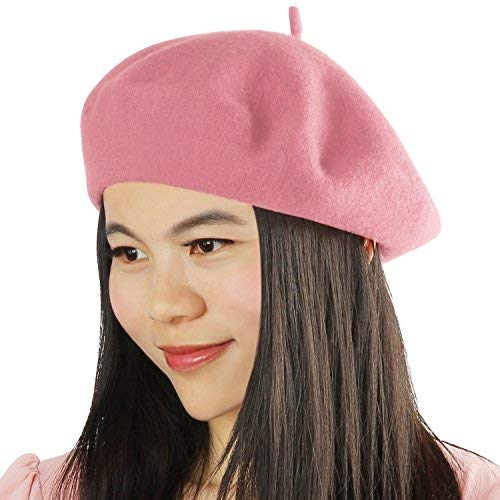 Acecharming Womens French Style Beret Wool Beanie Hat Cap(Thin, Pink)
