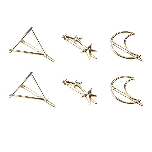 Rhyme 6Pcs Minimalist Dainty Simple Geometric Gold Metal Hair Clip Hairpin Accessory Barrette Clamp For Baby Girl And Women Three Star Triangle And Moon