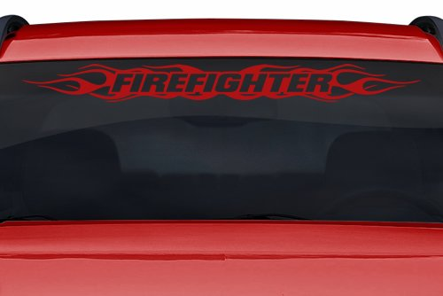 Sticky Creations - Design #100 Firefighter Flame Flaming Windshield Decal Sticker Vinyl Graphic Rear Back Window Banner Tailgate Car Truck SUV Van Go Cart Trailer | 36