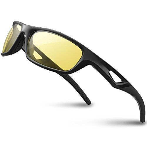 RIVBOS Polarized Sports Sunglasses Driving Sun Glasses Shades for Men Women Tr 90 Unbreakable Frame for Cycling Baseball Run Rb831(Black Night Version)