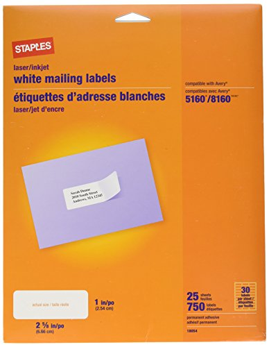 "White Mailing Labels for Laser & Inkjet Printers, 1"" x 2-5/8"""