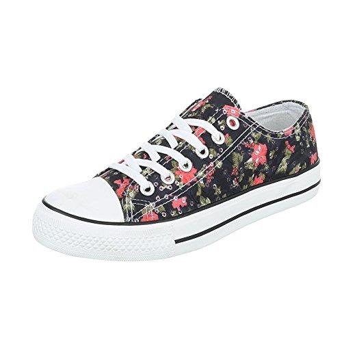 Ital-Design - Zapatillas de tela para mujer Schwarz Multi BL46P