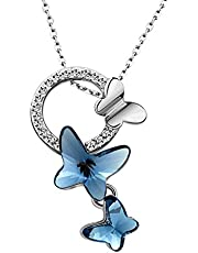 "T400 Jewelers""Dream Chasers"" Butterfly Pendant Necklace Made with Crystals Women's Jewelry"