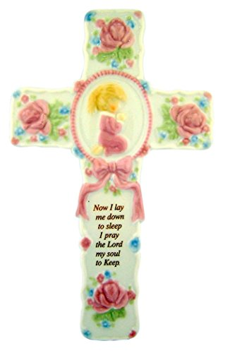 Porcelain Bedtime Prayer Verse Wall Cross with Praying Girl, 8 1/2 ()