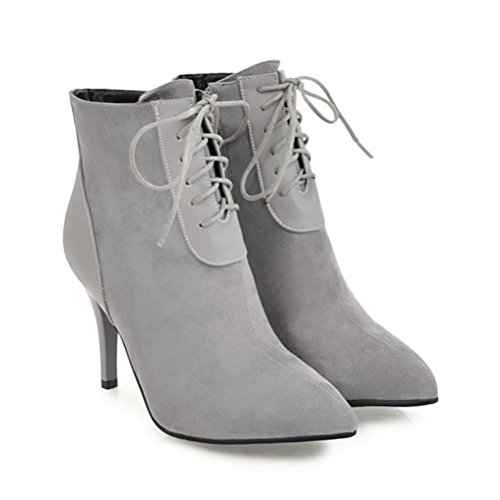 Agodor Womens Lace Up Stiletto High Heels Nubuck Leather Ankle Boots Pointed Toe Elegent Shoes Grey oNtbB10