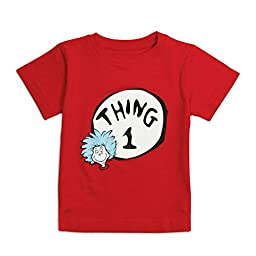 Bumkins Unisex Baby Dr. Seuss Thing 1 Short Sleeve Tee, Red, 24 Months