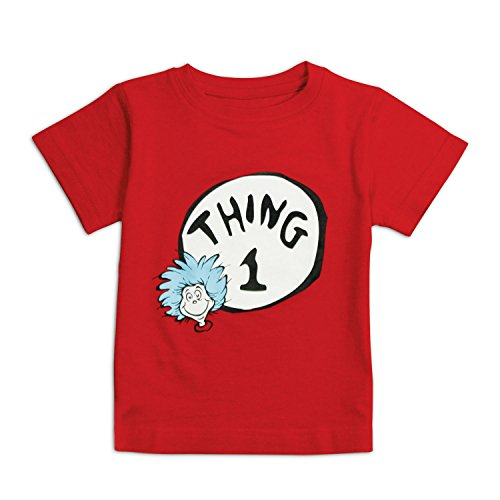 Bumkins Unisex Baby Dr. Seuss Thing 1 Short Sleeve Tee, Red, 18 Months (Cat In The Hat Thing 1)