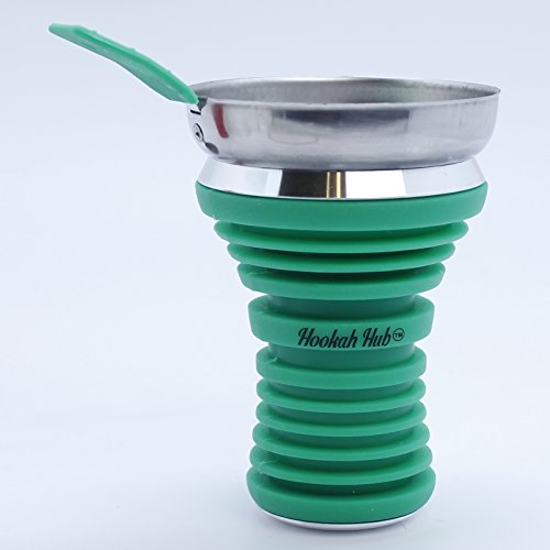 Green Hookha Hub Silicone Shisha Bowl, Wind Screen, food grade quality.Apple on top hookah head / Metal Coal Screen … by Generic