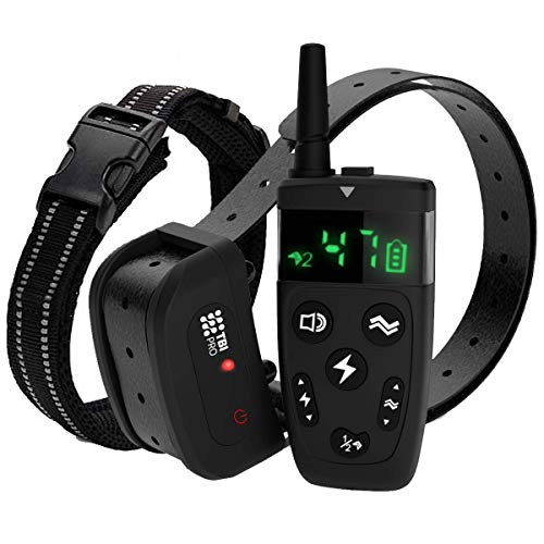 TBI Pro Dog Training Collar with Remote – Shock Collar for Dogs Range 2000 feet, Vibration Control, Rechargeable Bark E…