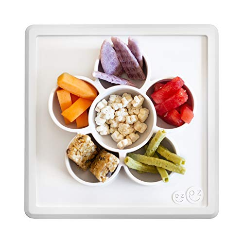 ezpz Mini Play Mat - One-Piece Silicone placemat + Flower compartments (Cream) ()