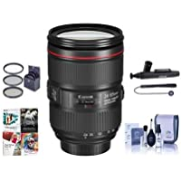 Canon EF 24-105mm f/4L IS II USM AutoFocus Wide Angle Telephoto Zoom Lens U.S.A. Warranty - Bundle With 77mm Filter Kit, Cleaning Kit, Capleash II, Lenspen Lens Cleaner, Software Package
