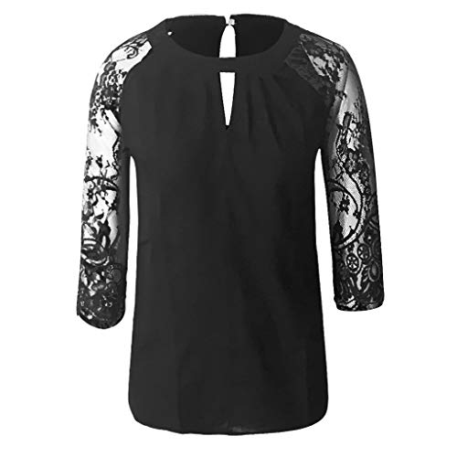 GREFER Fashion Simple Plus Size T Shirts - Pleat O-Neck Lace 3/4 Sleeve Tees Tops - Solid Easy Loose Blouses Black -