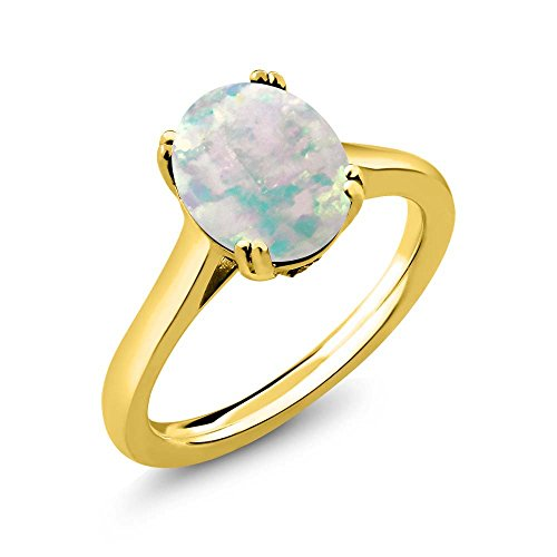 2.03 Ct Oval Diamond (2.03 Ct Oval Cabochon White Simulated Opal White Diamond 18K Yellow Gold Plated Silver Solitaire)