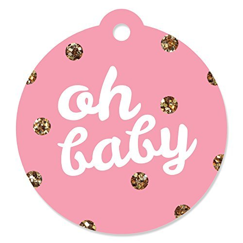 Hello Little One - Pink and Gold - Girl Baby Shower Party Favor Gift Tags (Set of 20) ()