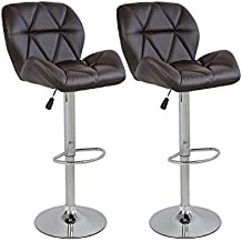 Set of 2 Bar Stools Modern Hydraulic Adjustable Swivel Barstools, Leather Padded with Back, Dinning Chair with Chrome Base, Brown