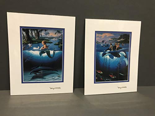 by Wyland Orca Whales & Jim Warren Mermaid Double Matted with Gold Foil Stamp